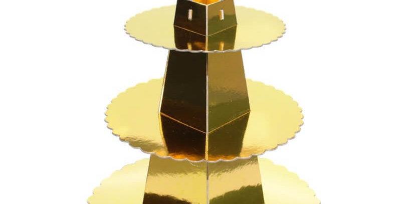 Altın Kek Standı 3 Katlı