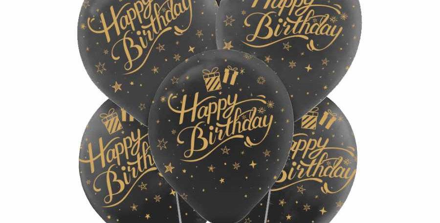Happy Birthday Siyah Üstüne Altın  Renk  - 10 Adet