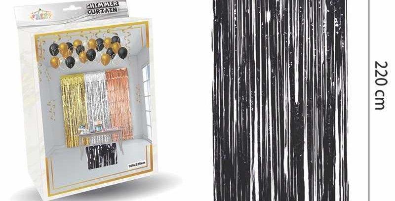 Parlak Duvar ve Kapı Perdesi Siyah 100*220cm