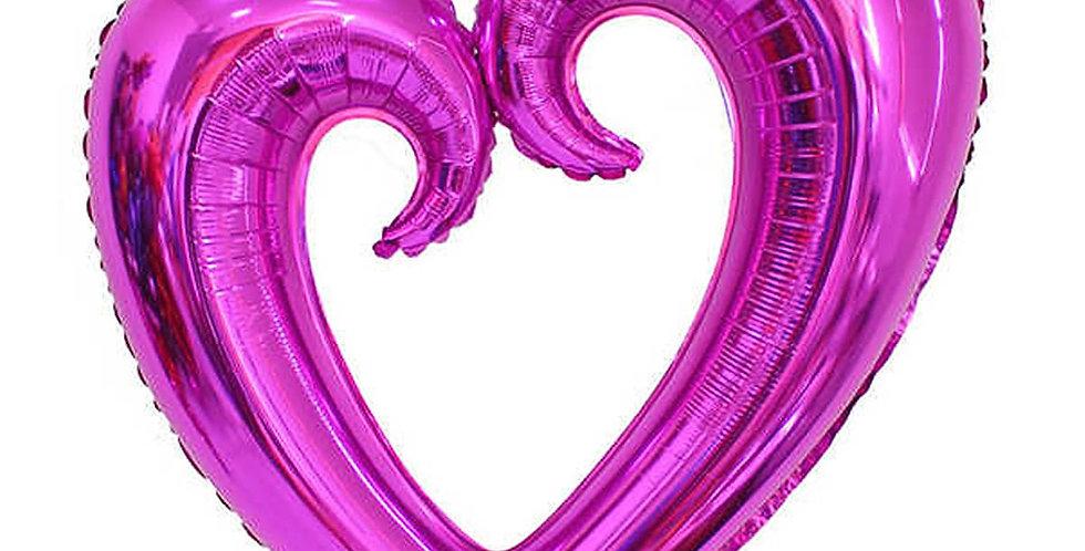 İçi Boş Kalp Folyo Balon 100 CM Mor