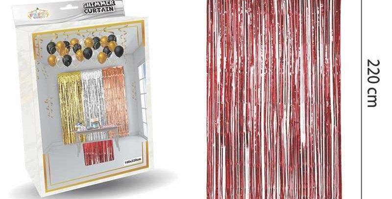 Parlak Duvar ve Kapı Perdesi Kırmızı 100*220cm
