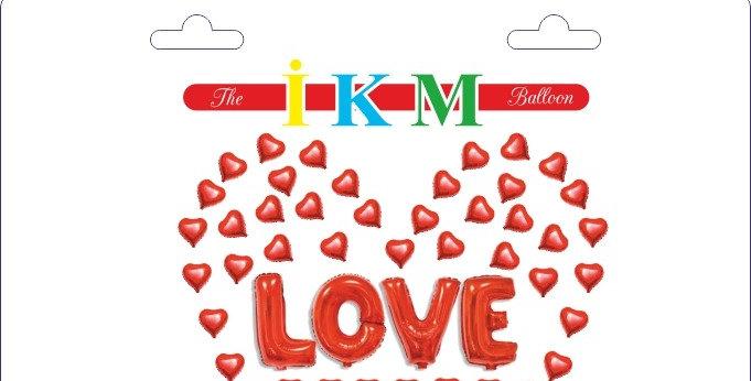 Kalp Balon Aşk Yazılı Folyo Balon Seti Kırmızı
