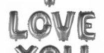 I Love You Yazılı Gümüş Folyo Balon Seti