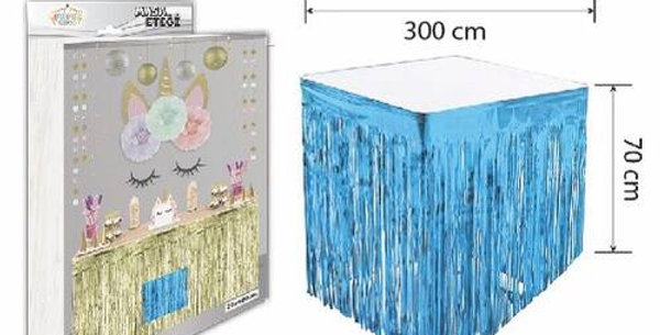 Mavi Püsküllü Masa Eteği 70*300 cm