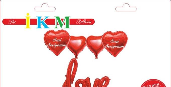 Love Seni Seviyorum Folyo Balon Set Kırmızı (9 Adet)