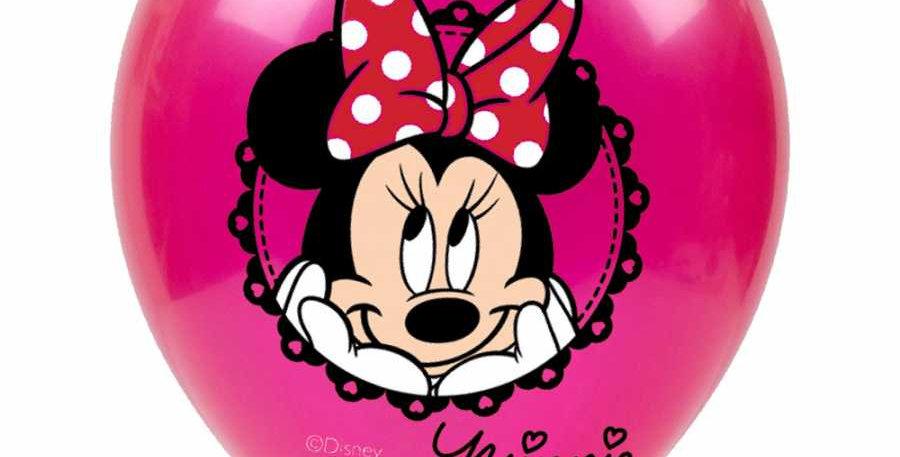 Winnie Mouse Doğum Günü Temalı Baskılı Lateks Balon - 10 Adet