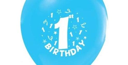 1. Yaş Doğum Günü Balonu Erkek  - 10 Adet
