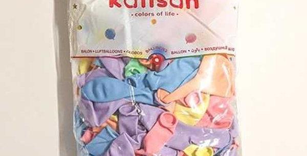 Makaron Karışık Renk Balon 100 Adet