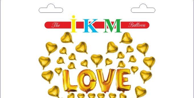 Kalp Balon Love Yazılı Folyo Balon Seti Gold