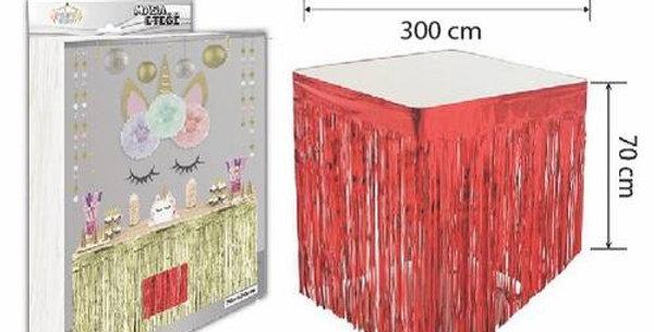 Kırmızı Püsküllü Masa Eteği 70*300 cm