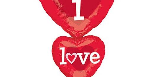 I Love You 3 lü Kalp Folyo Balon