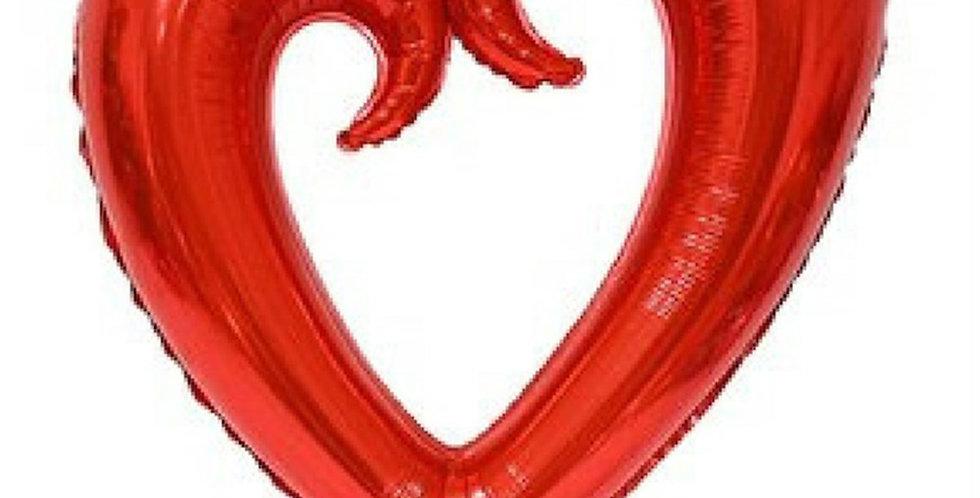 İçi Boş Kalp Folyo Balon 100 CM Kırmızı