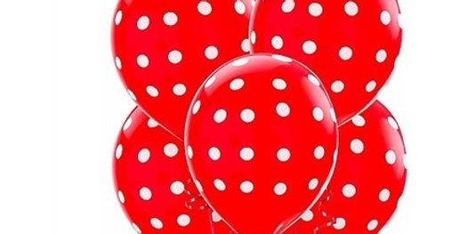 Puantiyeli Balon Kırmızı Renk - 10 Adet