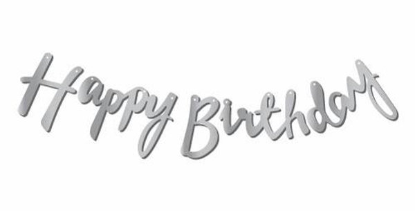 Happy Birthday Gümüş Kaligrafi Banner 110 cm
