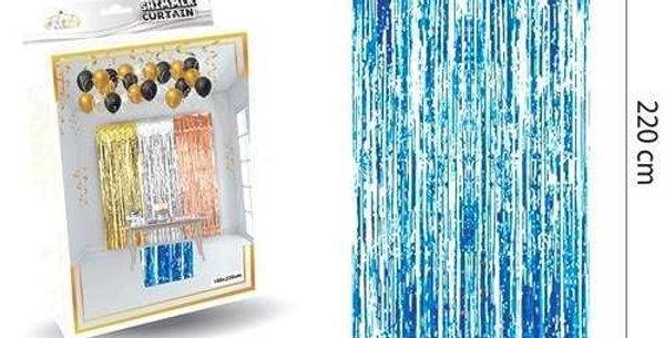 Parlak Duvar ve Kapı Perdesi Mavi 100*220cm