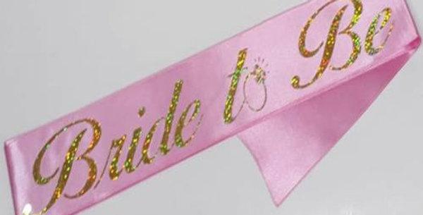 Bride To Be Kuşak Pembe Üzeri Simli Altın