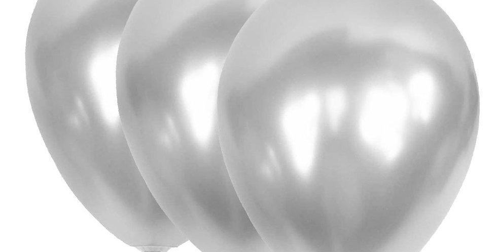 Metalik Gümüş Balon 100 Adet