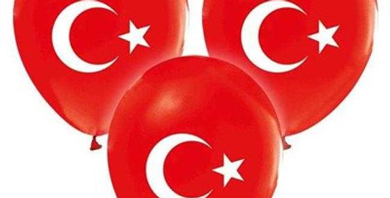 Ayyıldız Türk Bayrak Baskılı Lateks Balon - 10 Adet