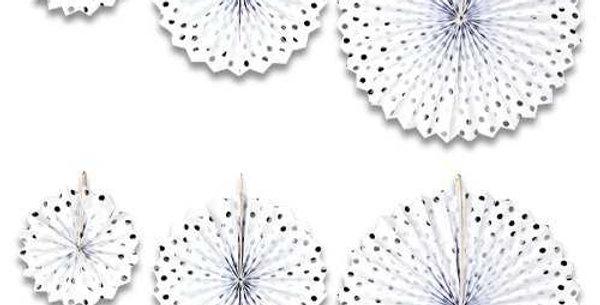 Beyaz Üzeri Gümüş  Puantiyeli Yelpaze Süs Set (6 adet)
