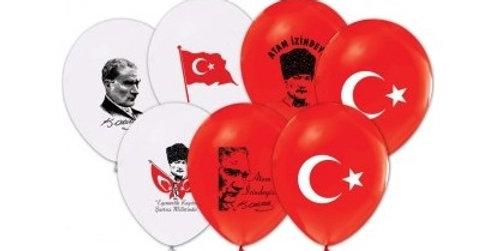 Atatürk Baskılı Lateks Balon - 10 Adet