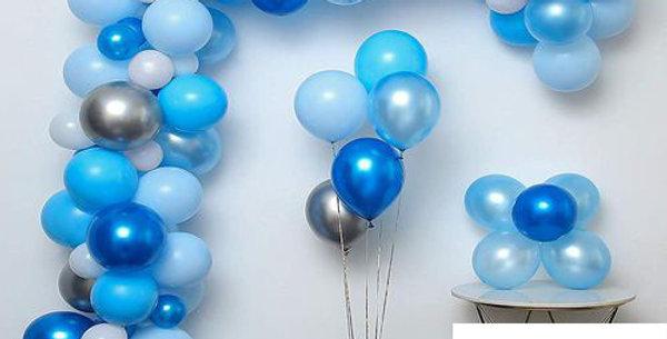 Hazır Eve Teslim Balon Zinciri Mavi-Gümüş Konsept 5 Metre