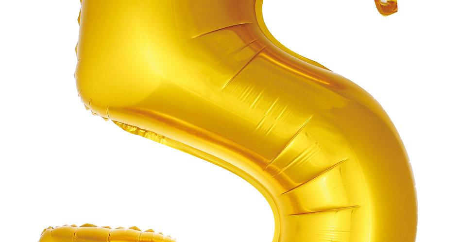 5- RAKAM FOLYO BALON GOLD 40 CM