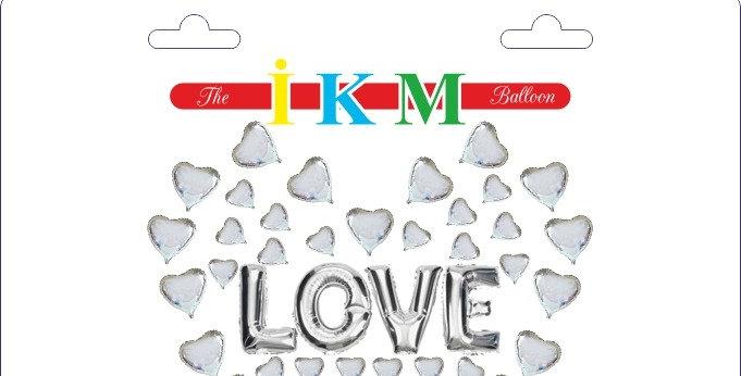 Kalp Balon Aşk Yazılı Folyo Balon Seti Gümüş