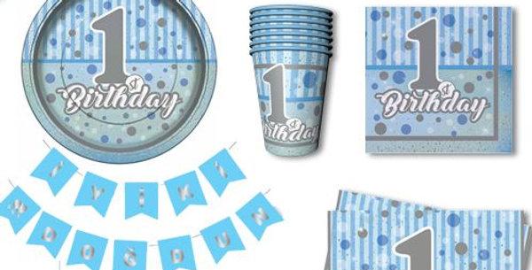 1 Yaş First Birthday 8 Kişilik Parti Seti Mavi