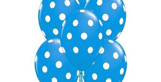 Puantiyeli Balon Mavi Renk - 10 Adet