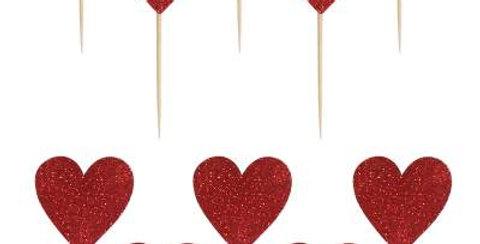 Simli Kürdan Kırmızı Kalpli  12 adet