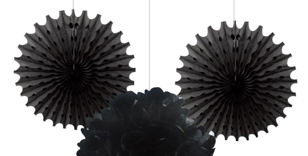 Siyah Ponpon Süs Seti 3'lü