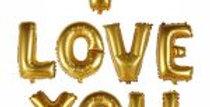 I Love You Yazılı Altın Folyo Balon Seti