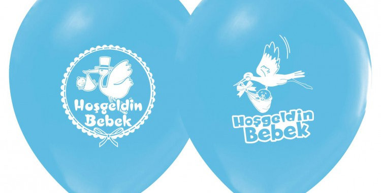 Hoşgeldin Bebek Baskılı Lateks Balon Erkek - 10 Adet