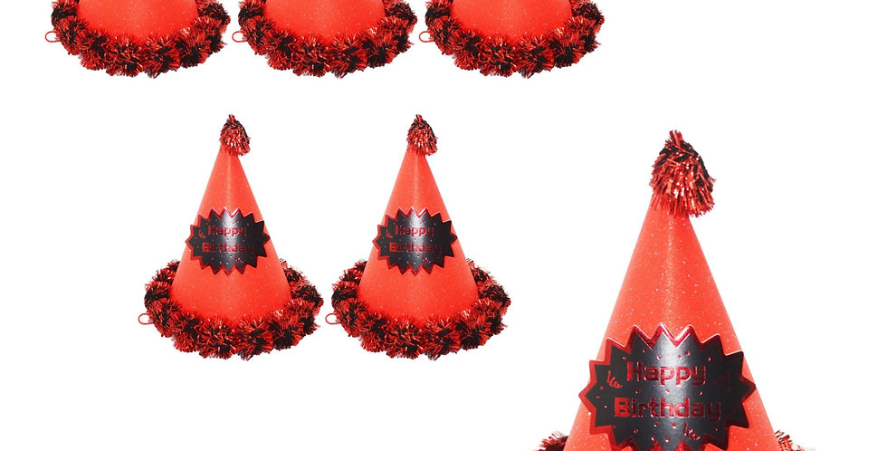 6Lİ SİMLİ Ponponlu Karton Külah Şapka Kırmızı
