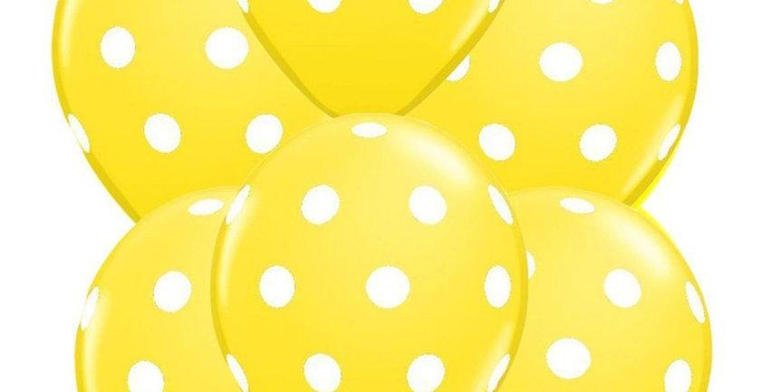 Puantiyeli Balon Sarı Renk - 10 Adet