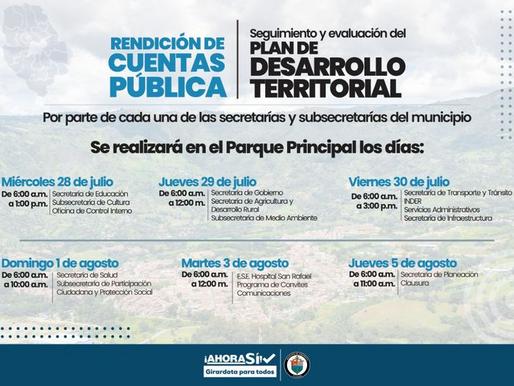 GIRARDOTA, RINDE CUENTAS PÚBLICAS DE MANERA TRANSPARENTE Y CERCANA