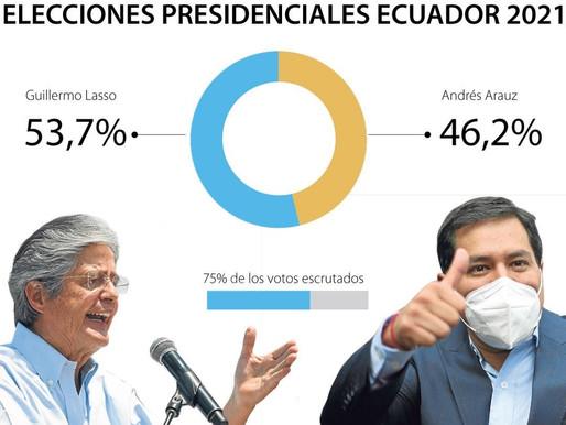 Guillermo Lasso Mendoza gana las elecciones presidenciales de Ecuador con 53% de los votos.