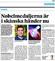 Sydsvenskan Nobelmedaljerna i skånska händer