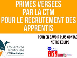 Primes incitatives versées par la CTM pour le recrutement d'apprentis
