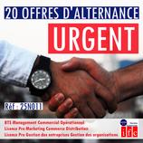 URGENT : 20 POSTES À POURVOIR EN ALTERNANCE