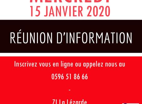 Réunion d'information - Mercredi 15 janvier 2020