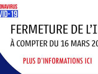 Fermeture de l'IFC aux stagiaires à compter du lundi 16 mars