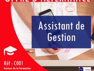 Offre d'alternance : Assistant de Gestion - Réf : C001