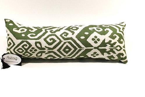 Moss Green and Cream Lumbar Pillow