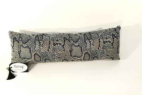 Blue Faux Snake Lumbar Pillow