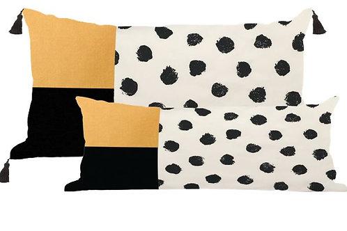 Black Ink Dots on White with Gold and Black Velvet