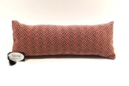 Grey and Blush Pink Chevron Lumbar Pillow