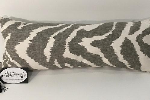 Grey Animal Print Lumbar Pillow