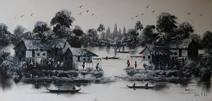 Chan Ra. The floating village 50x100cm.