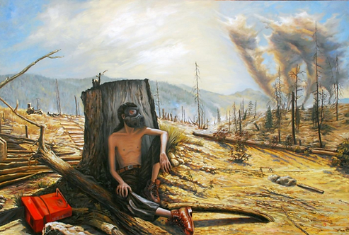 Vasin Suttikasem Size 100*150 cm.  Oil color on canvas